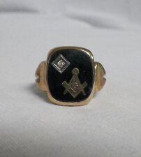 10K Yellow Gold Masonic Diamond Ring Mason Compass Size 10 Black