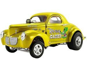 ACME 1:18 1940 Willys Gasser Rat Fink Diecast Model Car Yellow A1800919