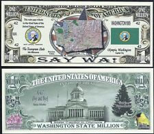 Lot of 100 Bills - Washington State Million Dollar w Map, Seal, Flag, Capitol