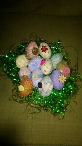 Lot of 12 New Handmade Decorative Lace and Fabric Covered Plastic Easter Eggs
