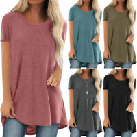 Women Summer Short Sleeve T-Shirt Ladies Casual Loose Long Blouse Baggy Tops UK