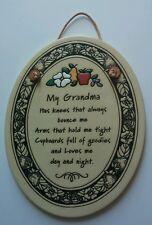 "TRINITY POTTERY 7"" Oval Plaque ""MY GRANDMA"" Nice Gift for Grandma Never Used"