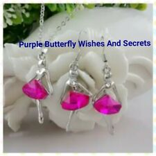 Ballerina Dancer PINK Silver Plated Austrian Crystal Necklace and Earrings Set