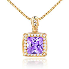 Princess Purple Crystal Amethyst Yellow Gold Filled Pendant Women Lady Necklace