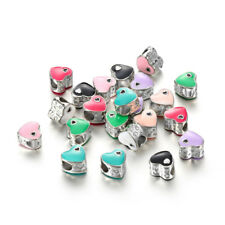 10pcs Mixed Silver Love Heart Bead Fit European Charm Bracelet