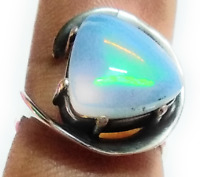 Handmade Ethiopian Fire Opal Natural Gemstone 925 Sterling Silver Ring Size 8
