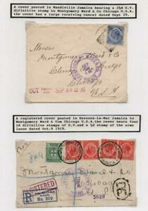 JAMAICA: George V Covers to USA - Ex-Old Time Collection - Album Page (41724)