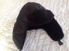 Winter Hat Ear Flaps Faux Fur Black