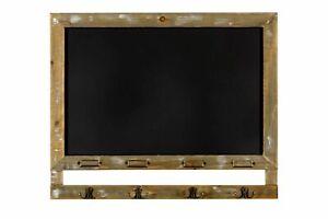 Blackboard with 4 Hooks & Label Holders Wooden Chalkboard Notice Message Board