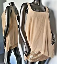 NWT-ALI & JAY BELLA GOLD SEQUIN SHEER GEORGETTE STRETCH TANK DRESS SZ-XS MSP$138