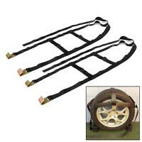 2pcs Car Basket Straps Tow Adjustable Dolly Wheel Net Flat Snap Hooks For Tires