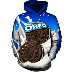 NEW 3D Funny Blue Oreo Cookie Chocolate Cool Fashion Hoodie Sweatshirt Men Women
