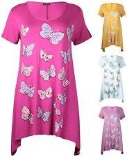 Womens Plus Size Top Short Sleeve Uneven Hem Butterfly Print Ladies Long T-Shirt