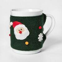 CHRISTMAS Mug Santa with Removable Knit Green Ugly Sweater Cover FREE SHIPPING