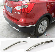 FIT FOR 14- SUZUKI SX4 S-CROSS CHROME REAR BUMPER CORNER PROTECTOR COVER GARNISH