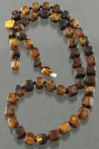 Genuine BALTIC AMBER Cube Rough Beads Knotted UNISEX Necklace 18g 200303-16