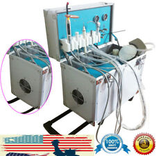 Dental Portable Mobile Delivery Unit Rolling Box Air Compressor Suction 2 Holes