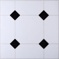 Lot de 4 À faire soi-même Self Adhésif Sol Vinyle Carreaux Salle de bains cuisine NOIR & BLANC EFFET