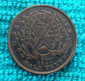 1844 Bank of Montreal Canada Half Penny Token Coin