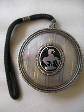 Antique Art Deco Silver Black Enamel AMERICAN INDIAN END OF THE TRAIL Compact