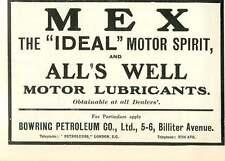 1909 Bowring Petroleum Company Billiter Avenue Mex Motor Spirit Ad