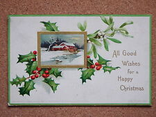 R&L Postcard: Christmas Greetings Holly/Berry Design