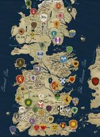 Game Of Thrones Houses Map Westeros TV Show Wall Print POSTER Decor