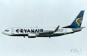 ORIGINAL ZEICHNUNG - Ryanair, Boeing 737-800.