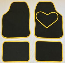 BLACK CAR MATS WITH YELLOW HEART HEEL PAD FOR VAUXHALL ADAM AGILA ASTRA ANTARA