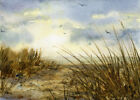 Beach PRINT or GREETING CARD - Watercolor by LINDA HENRY New Jersey Sand Dunes