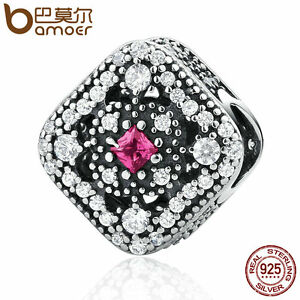 Bamoer y Authentic S925 Sterling Silver Charm Fairytale Treasure, Cerise Crystal