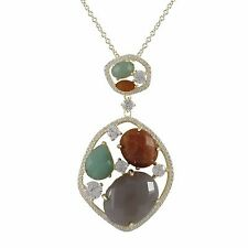 Gold Plated Sterling Silver Semi Precious CZ Womens Pendant Necklace