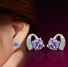 Wholesale 925 Silver Earrings Amethyst Ear Stud Fashion Jewelry Xmas Gift
