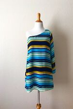 Gabriela Rocha One Shoulder Mini Dress Striped Size S Preowned
