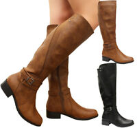 Ladies Women Faux Leather Flat Heels Calf Long Riding Knee High Boots Shoes Size
