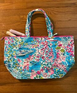NWT Lilly Pulitzer Palm Beach Zip Up Tote POSTCARDS FROM POSITANO Print