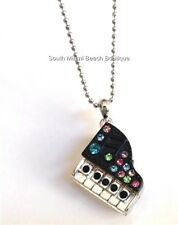 """Silver Grand Piano Necklace 17"""" Crystal Music Teacher Graduation Gift Plated"""