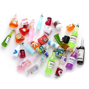10Pcs Cute Drink Charms Pendants Resin Cabochon for Bracelets Necklace Earrings