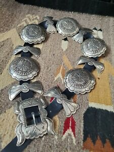 Vintage Large Silver Plated Navajo-Style Concho Belt