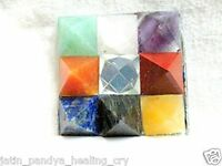 Jet 9 Pyramid Plate Chakra Power Protection Vastu Healing Feng Shui Energy Gift