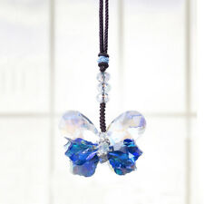 Blue Butterfly Crystal Pendant Hanging Rainbow Suncatcher Window Home &Car Decor