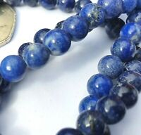 Lapis Lazuli Round Gemstone Beads Blue for Jewelry Making Half Strand Bag RSPCA