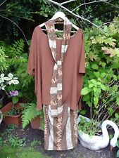 Brown beige orange cream wrap skirt+top tunic blouse +scarf-Size 24,26,28,30,32