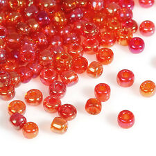 50g Red / Orange AB Seed Beads Glass 2mm Size 11/0 J09079xa