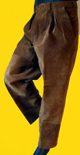 BROWN suede leather dress pant western pleat jean beige baggy 33 leather beige