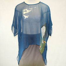 NEW NWT Cocoon House Geisha For The Birds Print 100% Silk Pointed Top Large / XL