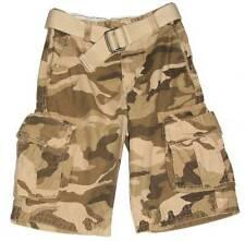 Boys Ripstop Khaki Camouflage River Cargo Shorts/Belt 10