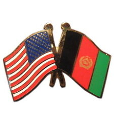 Afghanistan Friendship with USA Flag Lapel Badge Pin