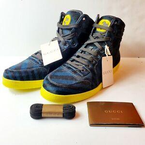 Gucci Coda Pony Hair Blue Black Zebra Stipe Sneaker Yellow Sole Mens 11.5