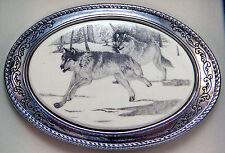 Belt Buckle Barlow Scrimshaw Carved Painted Art Wolves Running Silver 592636 NEW
